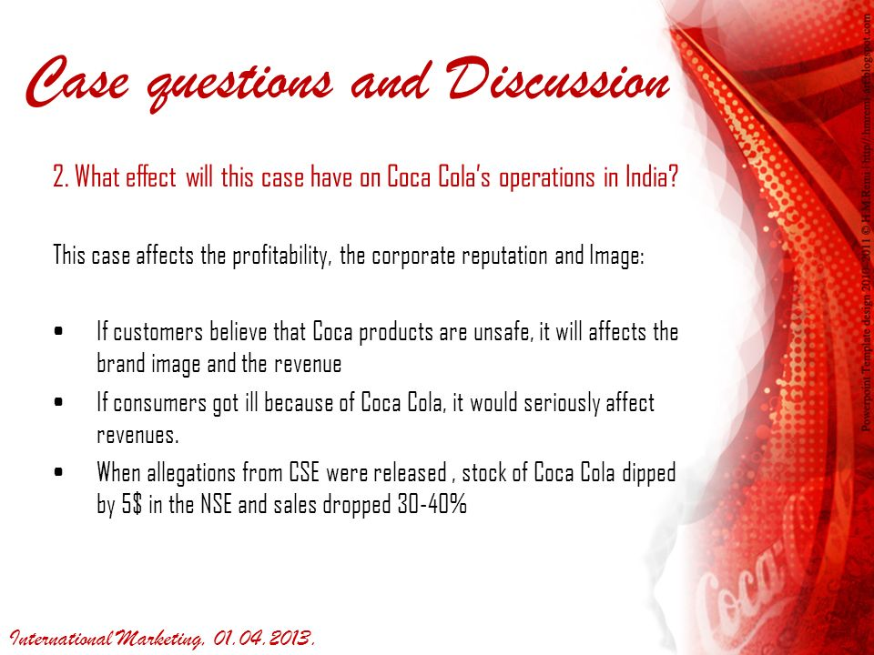 case discussion questions coca cola This narrated powerpoint was created by the members of team b for captain mike's management course highlights of the coca-cola company's swot analysis, miss.
