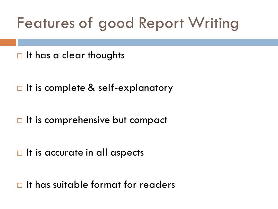 Good report writing