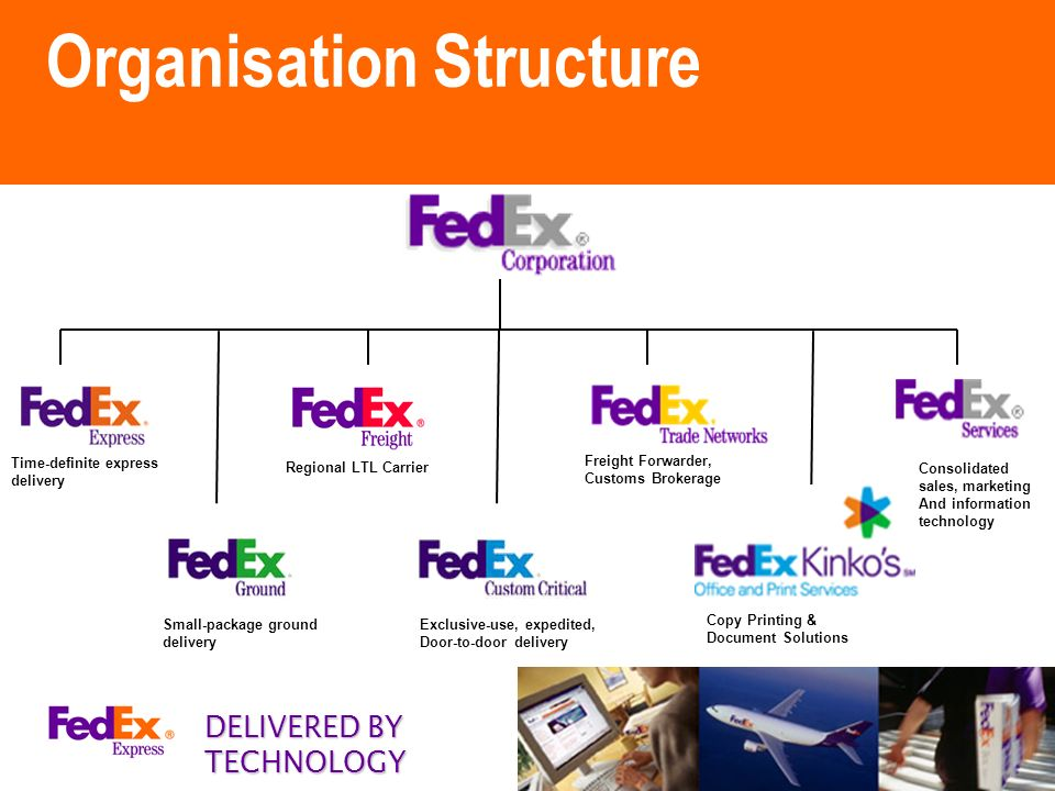 fedex organizational structure Fedex corp: structural transformation through e-business introduction the  ability to keep up with e-businesses will depend on how well a company can  keep.