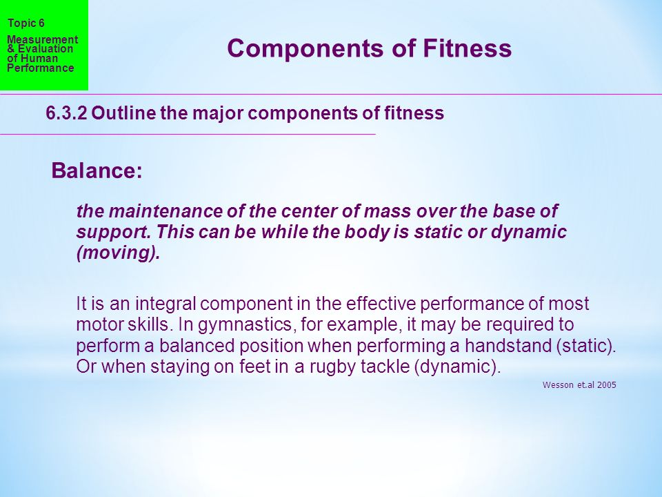 Components of Fitness Balance: