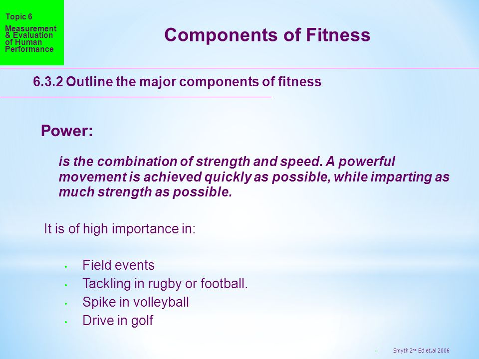Components of Fitness Power: