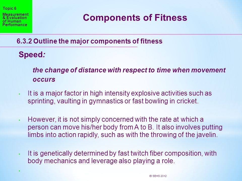 Components of Fitness Speed: