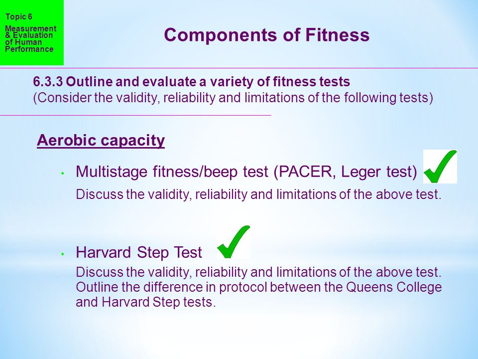 Components of Fitness Aerobic capacity
