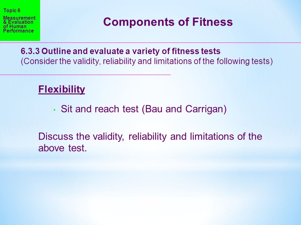 Components of Fitness Flexibility