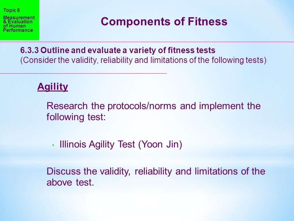 Components of Fitness Agility