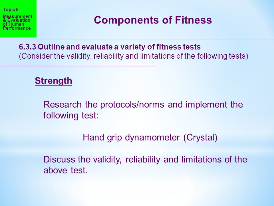Components of Fitness Strength