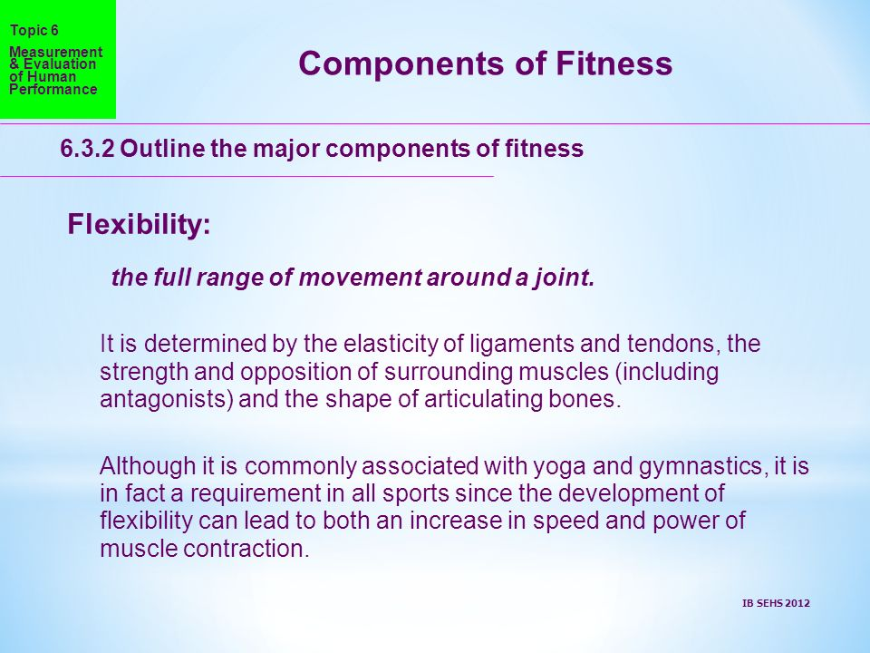 Components of Fitness Flexibility: