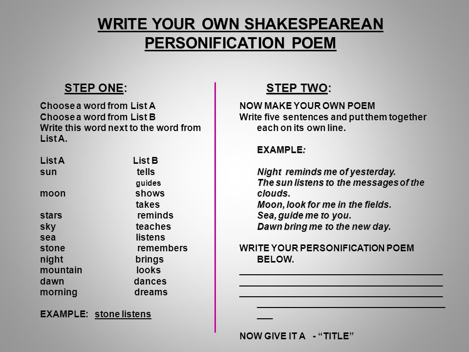 Write a Poem Using Personification