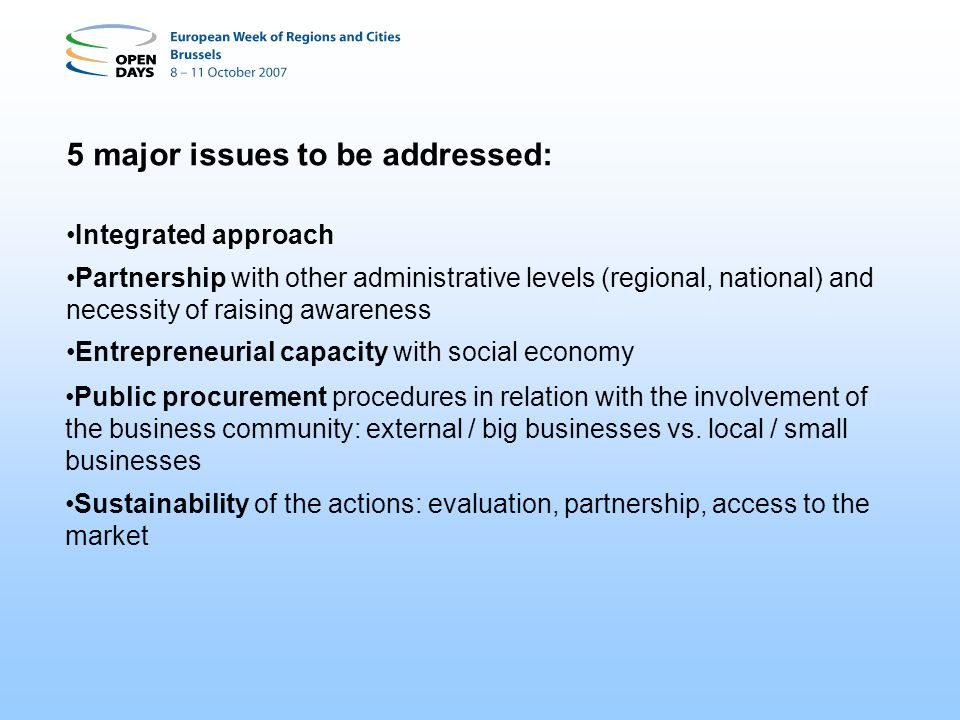 5 major issues to be addressed: