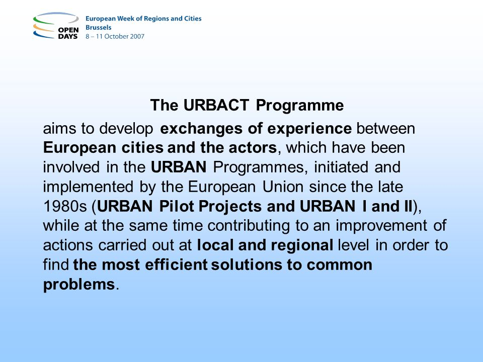 The URBACT Programme