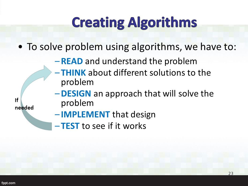 computer operations solving problems and algorithms An algorithm is a step by step method of solving a problem it is commonly used for data processing, calculation and other related computer and mathematical operations.