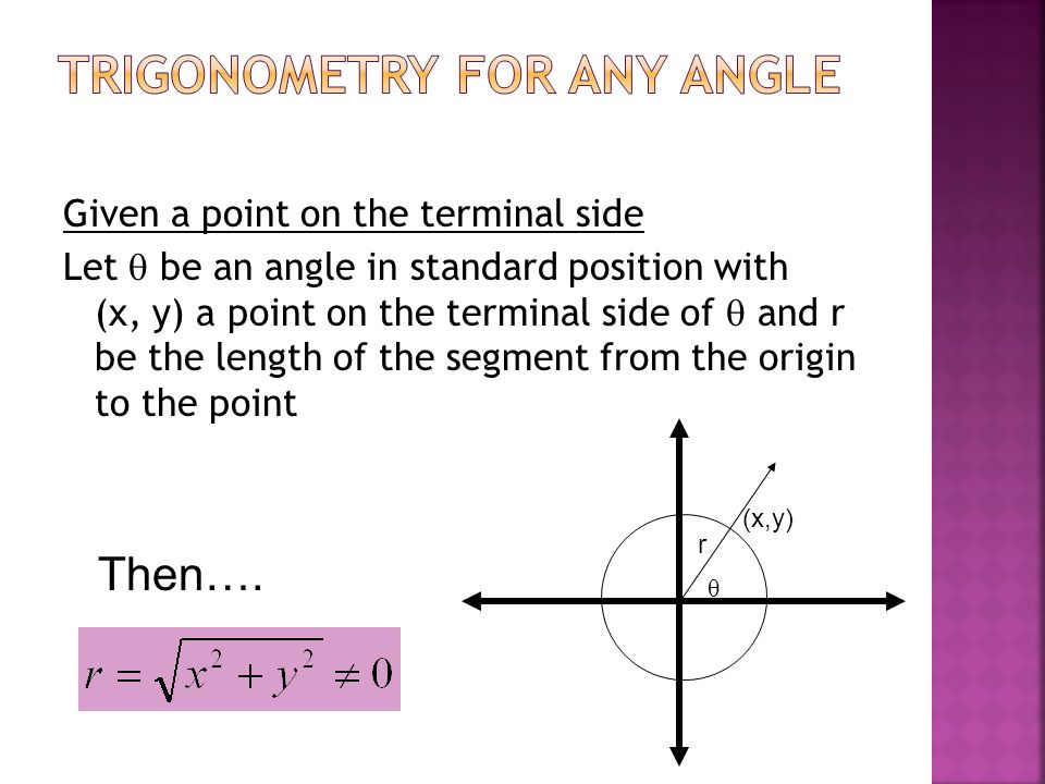 trigonometry for any angle ppt video online download. Black Bedroom Furniture Sets. Home Design Ideas
