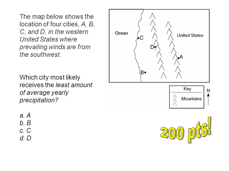 The Map Below Shows The Location Of Four Cities A B C