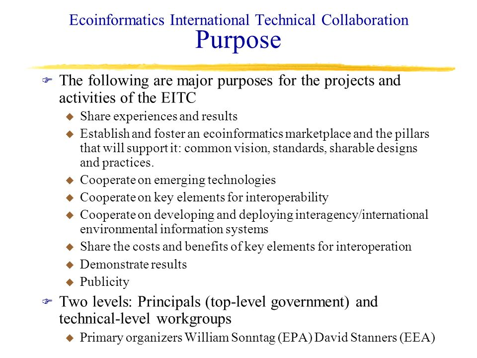 Ecoinformatics International Technical Collaboration Purpose