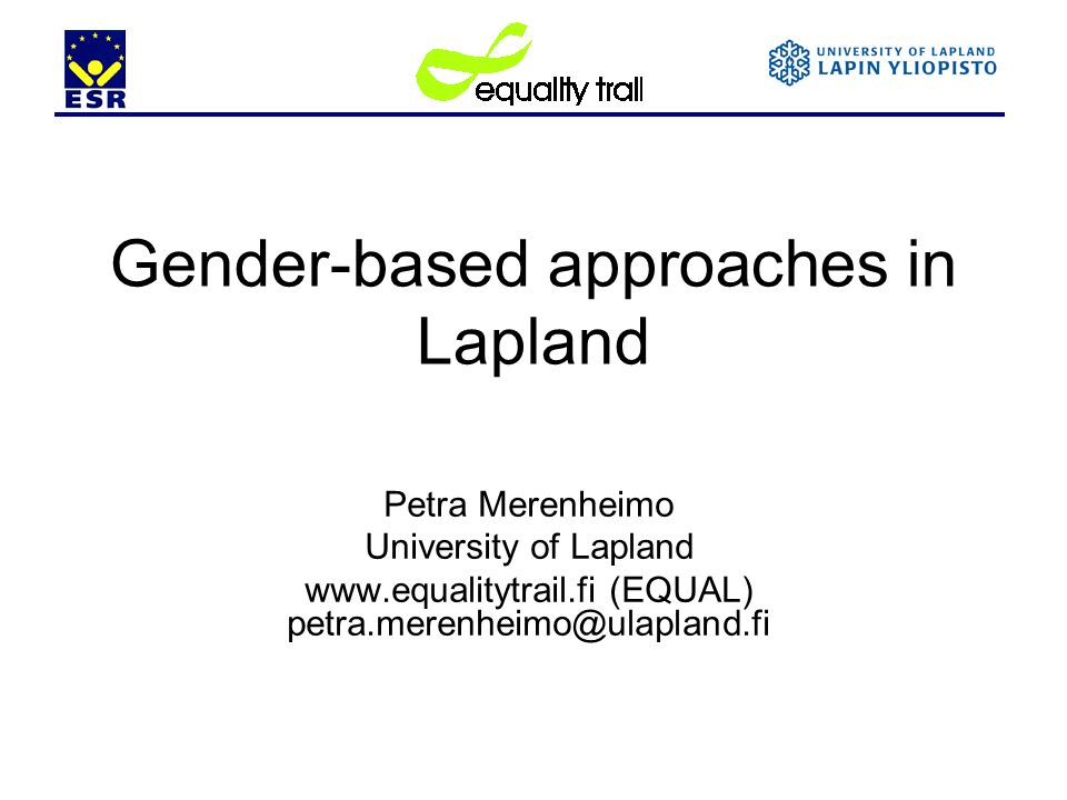 Gender-based approaches in Lapland