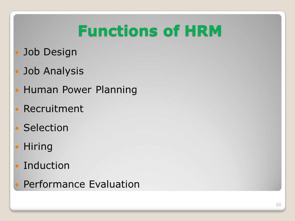 Functions of HRM Job Design Job Analysis Human Power Planning