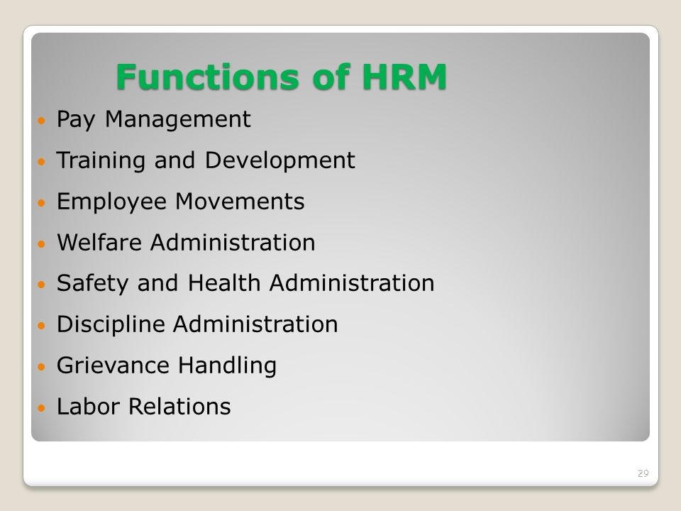 Functions of HRM Pay Management Training and Development