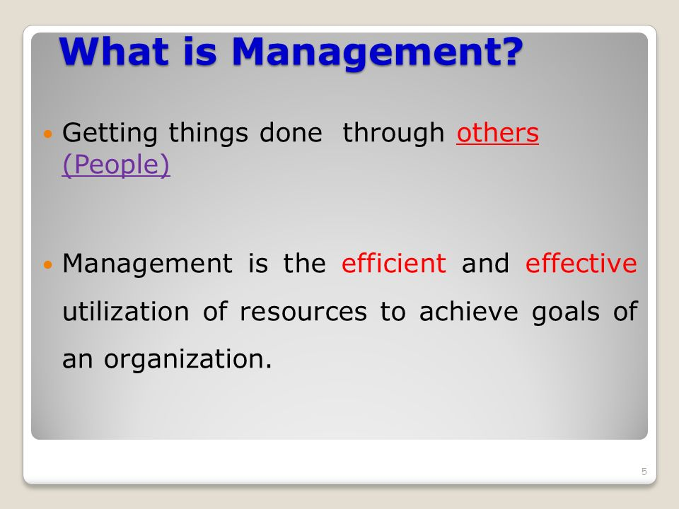 What is Management Getting things done through others (People)