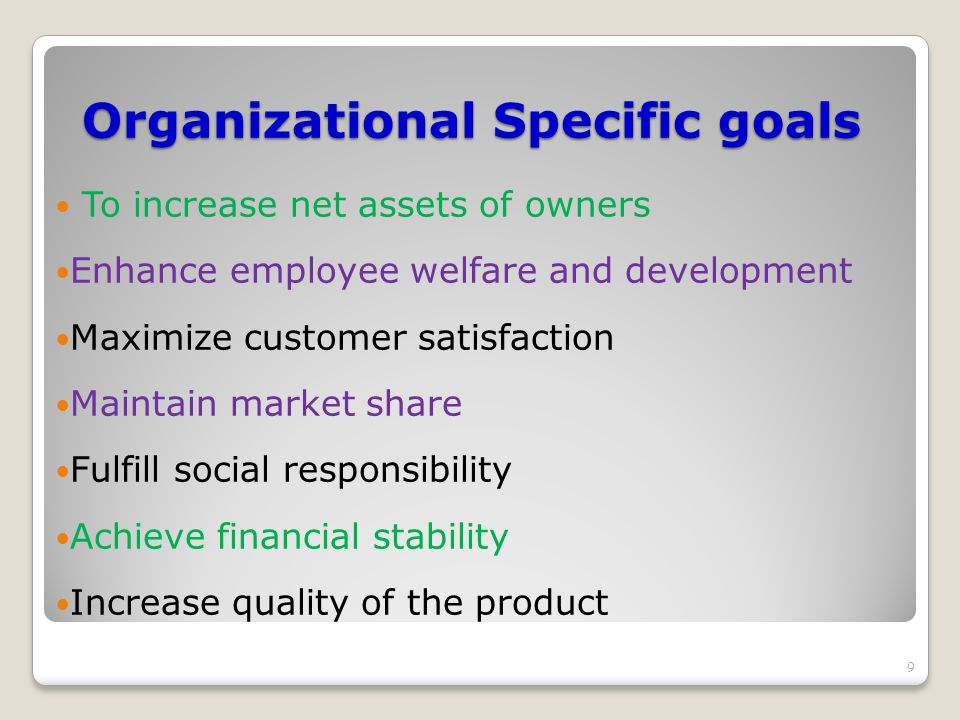 Organizational Specific goals