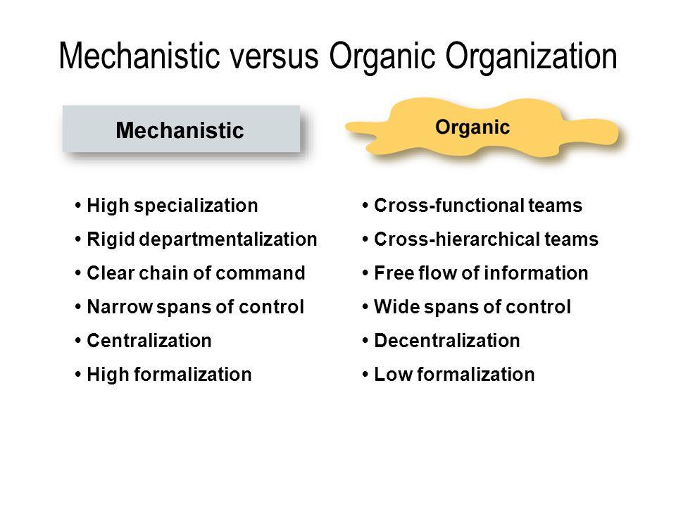 Mechanistic versus Organic Organization