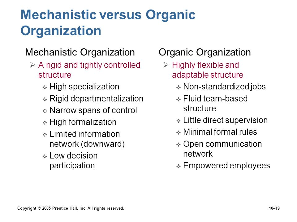 Mechanistic versus Organic Organization