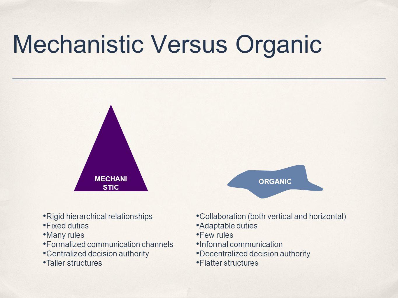 Mechanistic Versus Organic