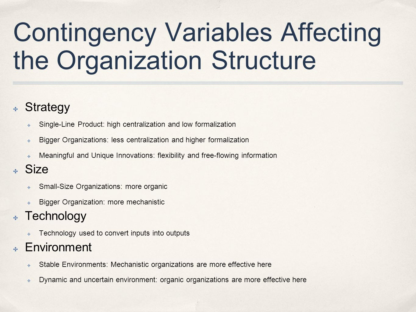 Contingency Variables Affecting the Organization Structure