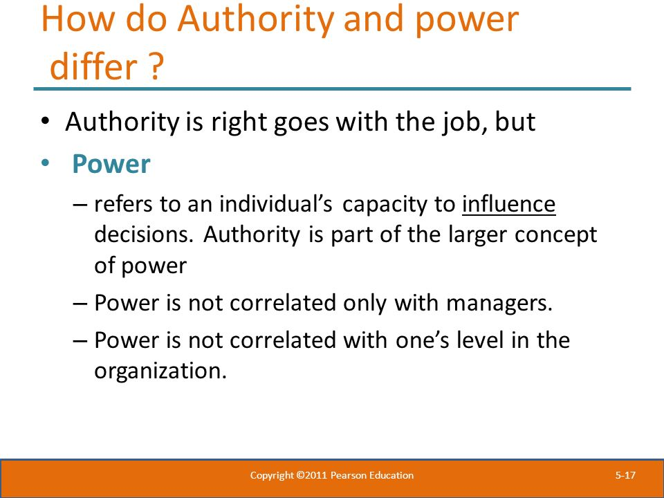 How do Authority and power differ