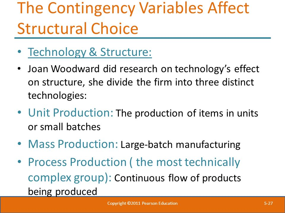 The Contingency Variables Affect Structural Choice
