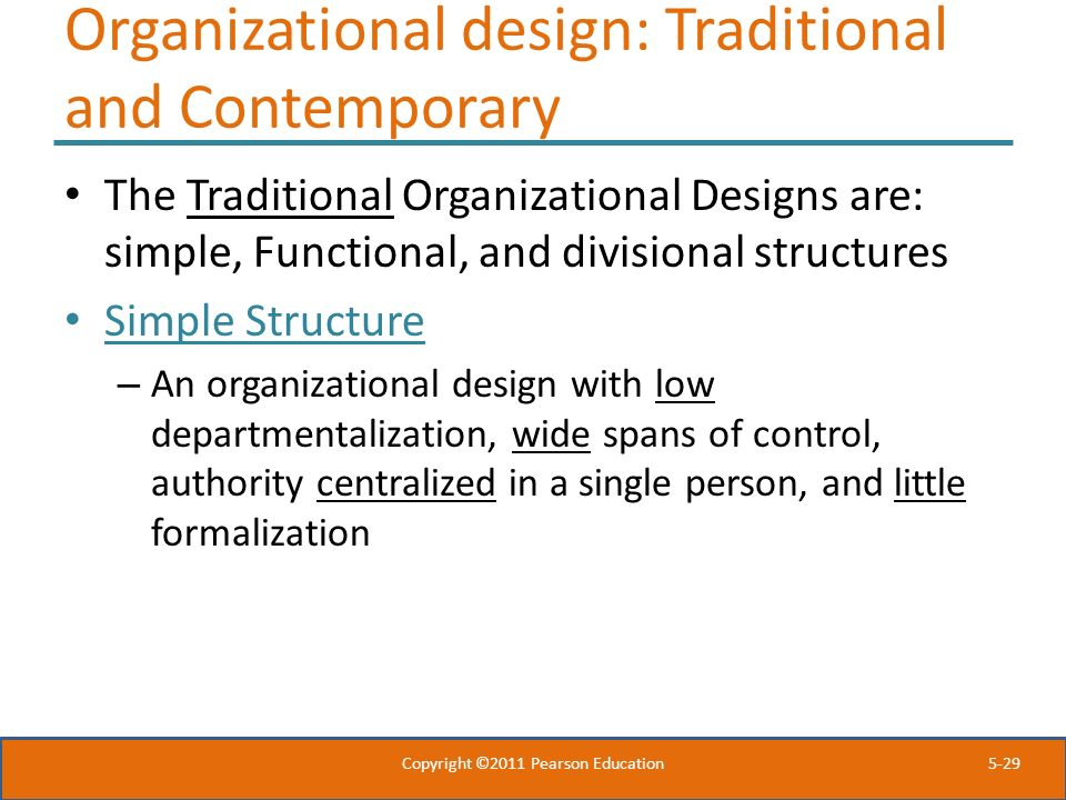Organizational design: Traditional and Contemporary