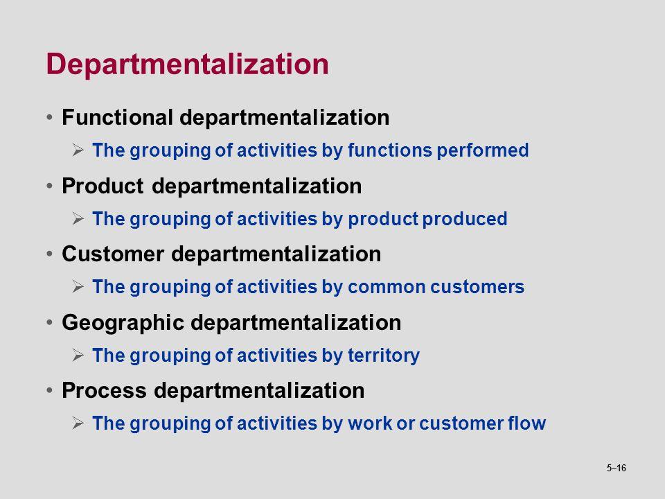 Departmentalization Functional departmentalization