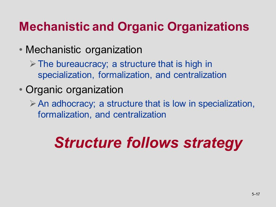 Mechanistic and Organic Organizations