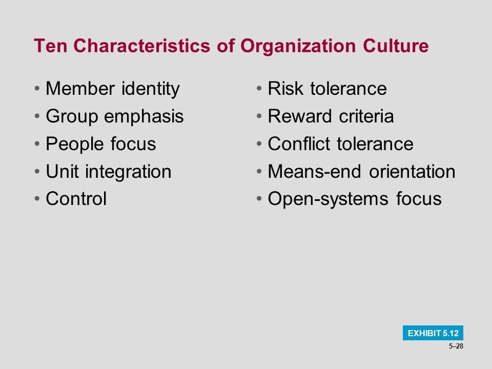 Ten Characteristics of Organization Culture