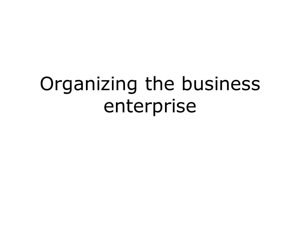 organizing the enterprise Title: organizing the business enterprise 1 chapter 6 organizing the business enterprise 2 outline  what is organizational structure the building blocks of.