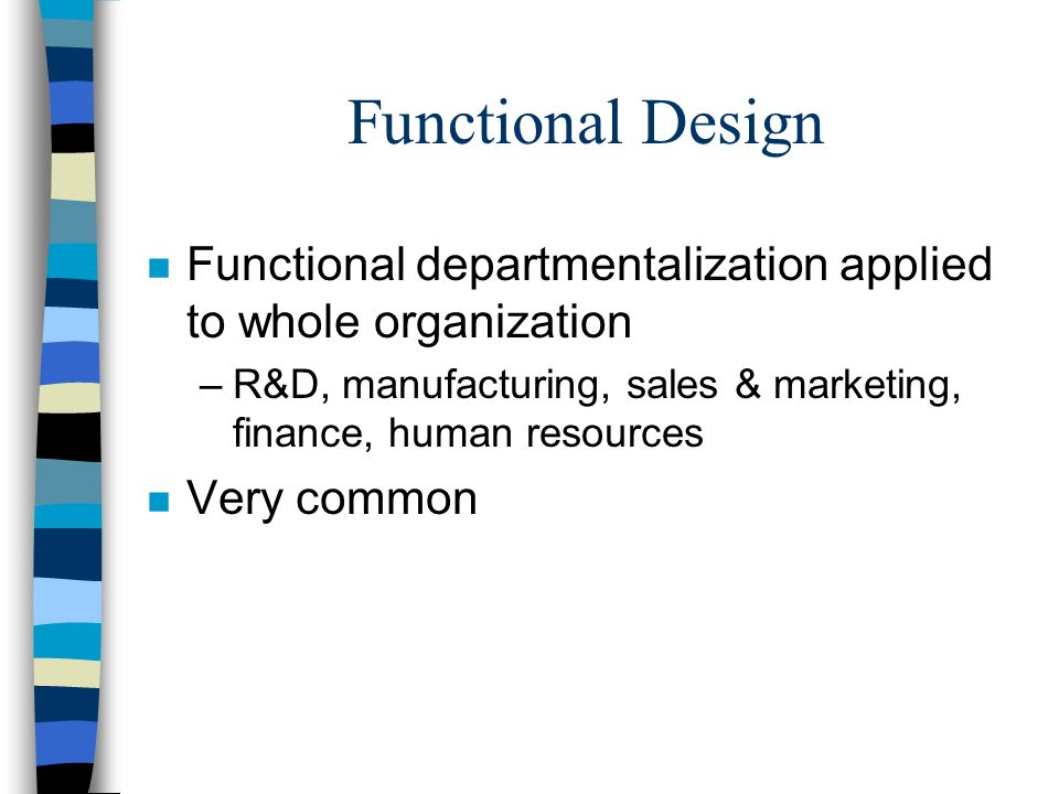 Functional Design Functional departmentalization applied to whole organization. R&D, manufacturing, sales & marketing, finance, human resources.
