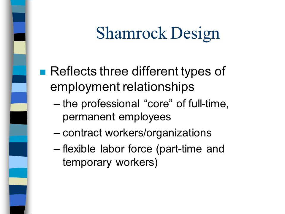 Shamrock Design Reflects three different types of employment relationships. the professional core of full-time, permanent employees.