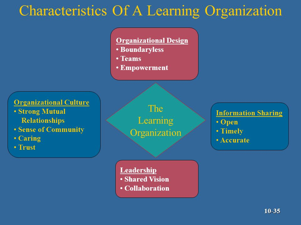 learning organization and attributes Specific organizational attributes inform the careful consideration of the  appropriate types of intervention and modification for learning and.