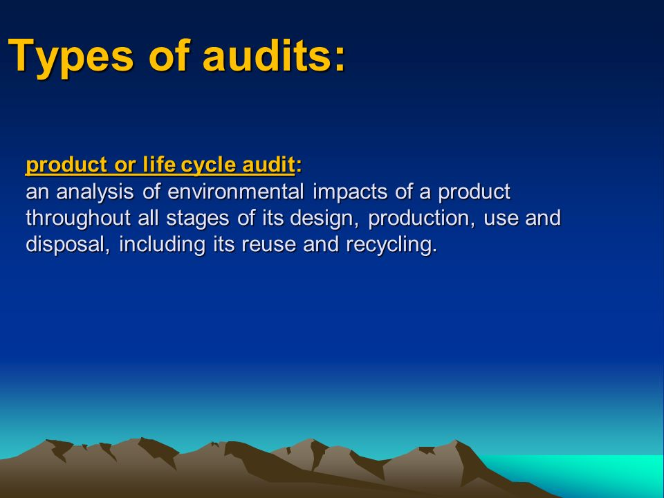 Types of audits: