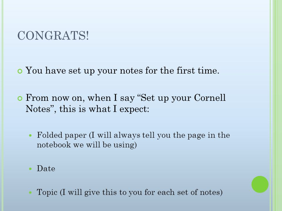 CONGRATS! You have set up your notes for the first time.