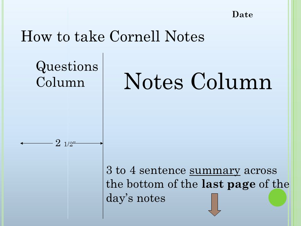 Notes Column How to take Cornell Notes Questions Column