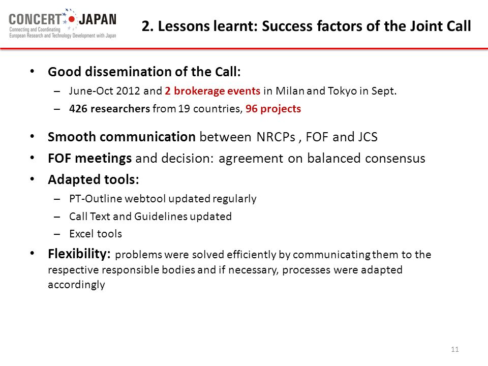 2. Lessons learnt: Success factors of the Joint Call