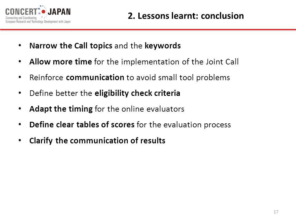 2. Lessons learnt: conclusion