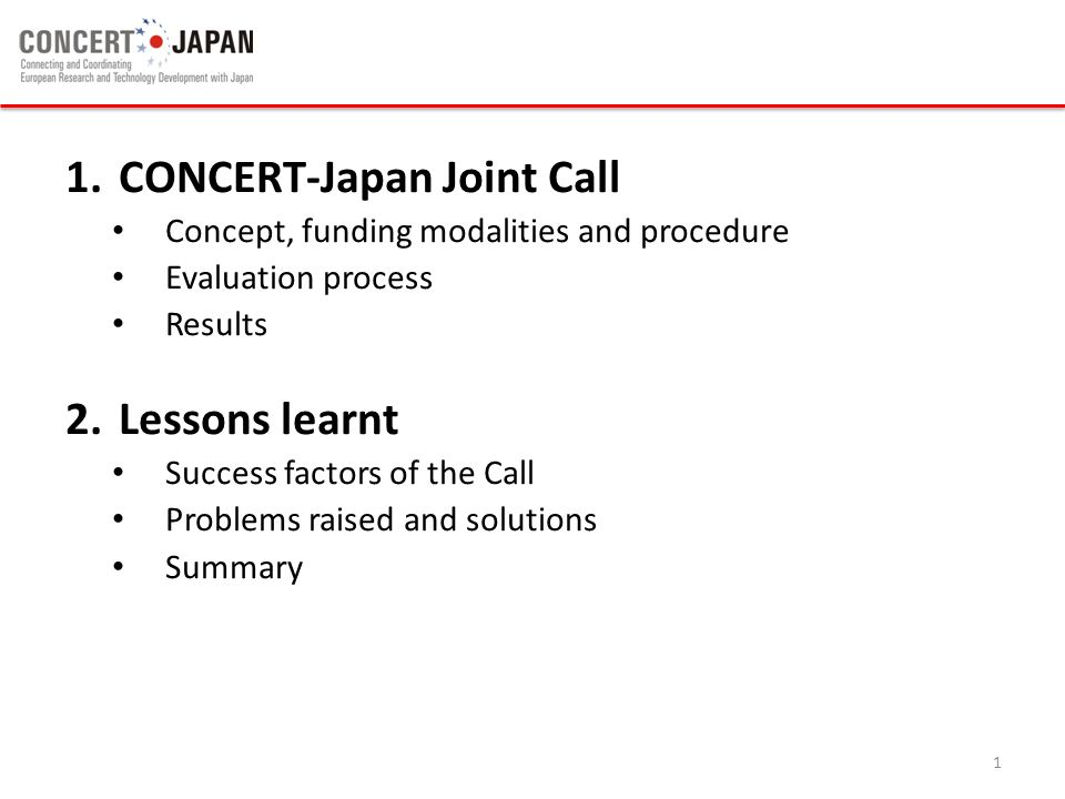 CONCERT-Japan Joint Call