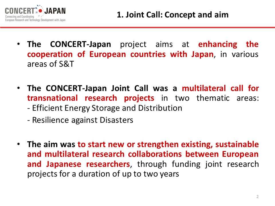 1. Joint Call: Concept and aim