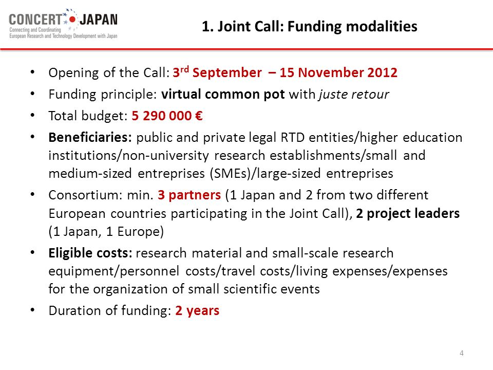 1. Joint Call: Funding modalities