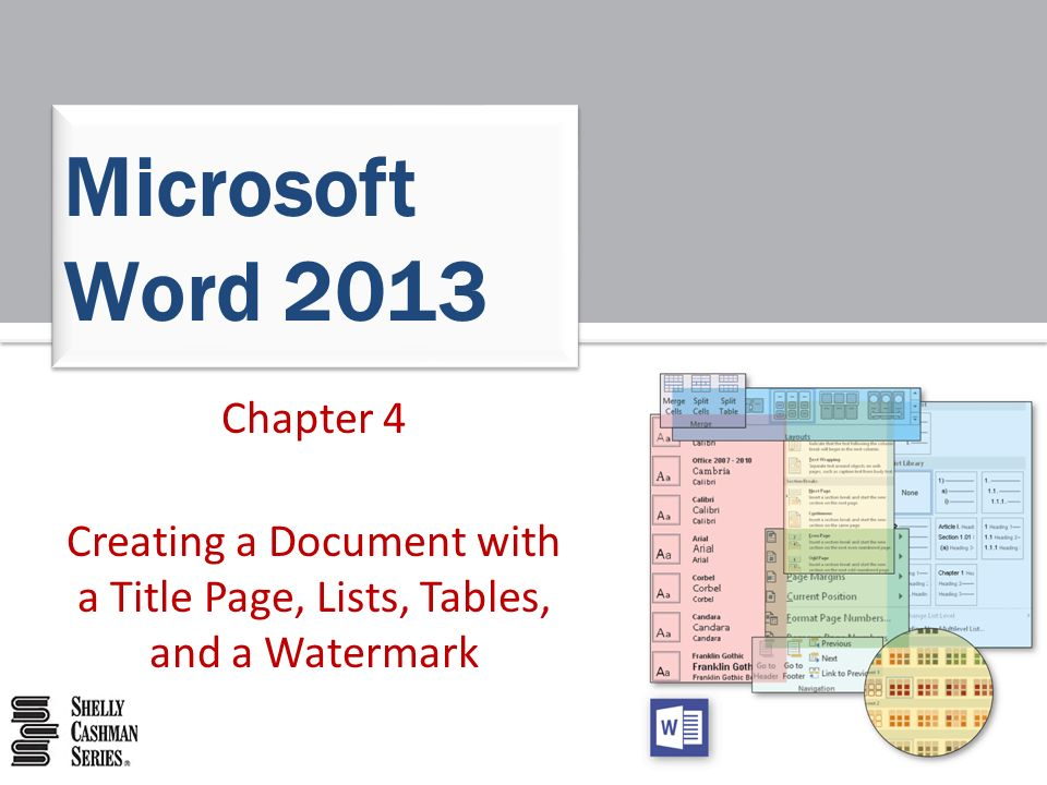 creating a document with a title page lists tables and a watermark