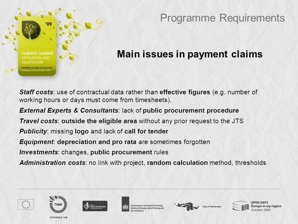 Main issues in payment claims
