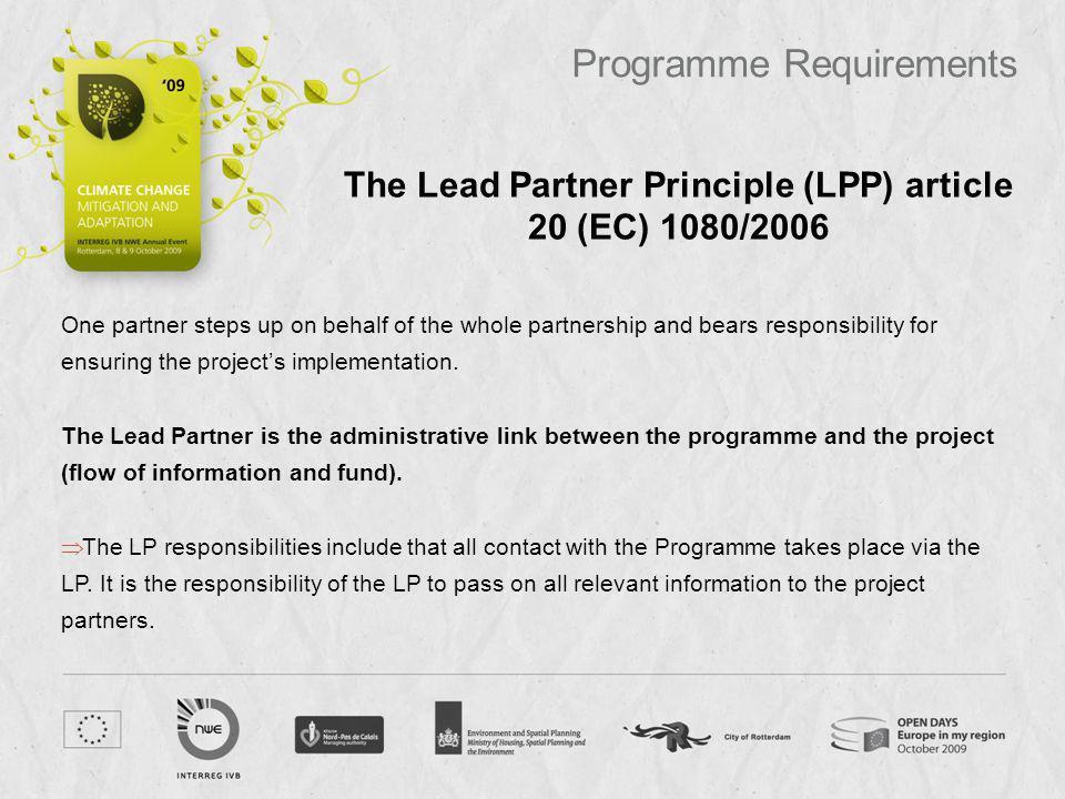 The Lead Partner Principle (LPP) article 20 (EC) 1080/2006