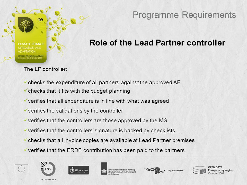 Role of the Lead Partner controller