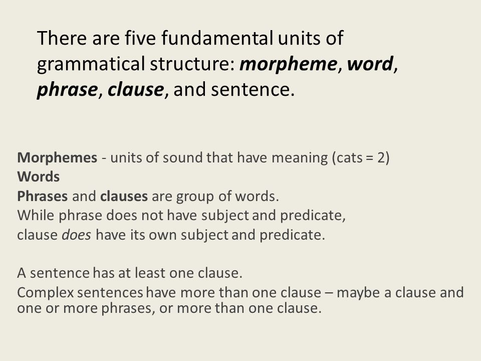 There are five fundamental units of grammatical structure: morpheme, word, phrase, clause, and sentence.
